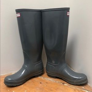 Hunter Shoes - Hunter Boots, Glossy Gray, size 8.5